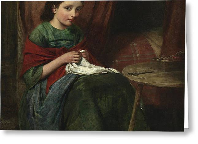 The Embroideress Greeting Card by Edward John Cobbett