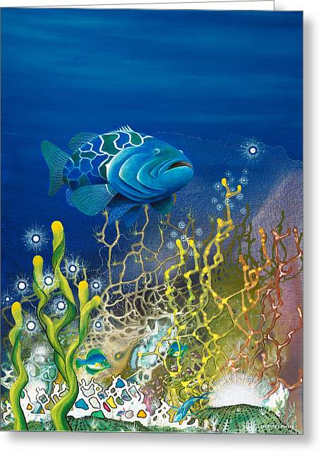 The Emerald Grouper Greeting Card by Lee Pantas