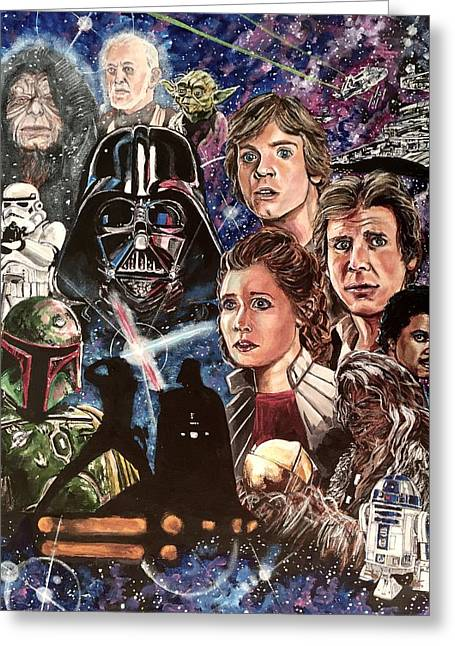 Greeting Card featuring the painting The Empire Strikes Back by Joel Tesch