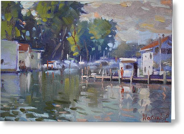 The End Of A Beautiful Day By The Boat Houses Greeting Card