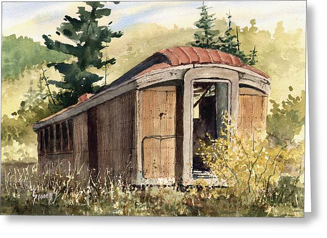 Greeting Card featuring the painting The End Of The Line by Sam Sidders