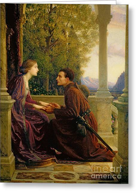 Holding Paintings Greeting Cards - The End of the Quest Greeting Card by Sir Frank Dicksee