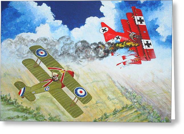 The End Of The Red Baron Greeting Card by Dennis Vebert