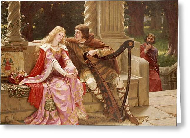The End Of The Song Greeting Card by Edmund Blair Leighton