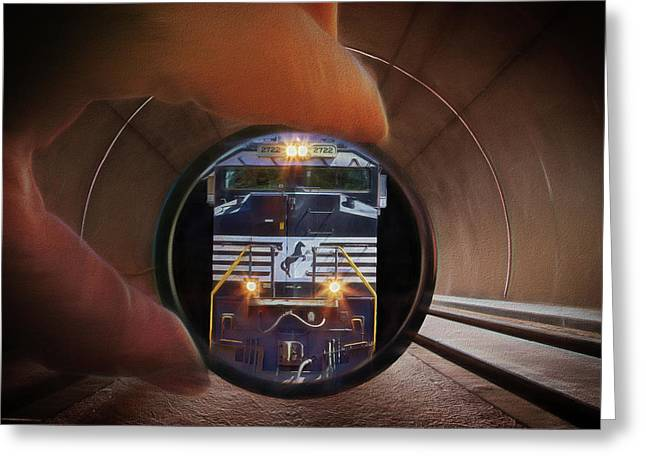 The End Of The Tunnel Greeting Card by John Haldane