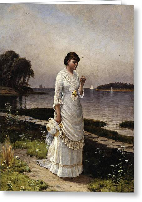 The Engagement Ring Greeting Card by Alfred Thompson Bricher
