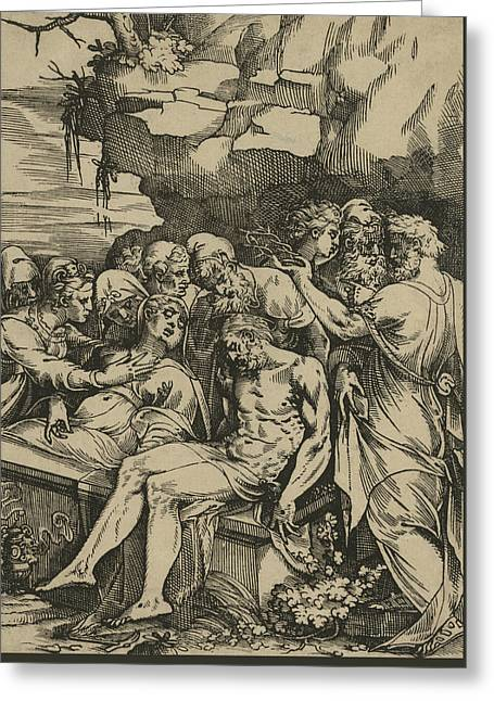 The Entombment Of Christ Greeting Card by Andrea Andreani