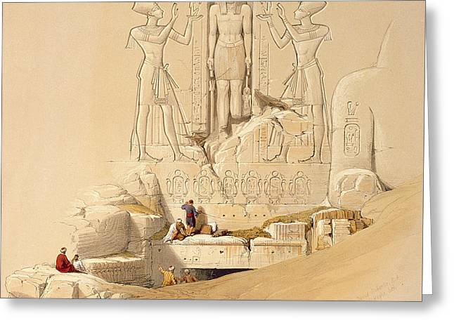The Entrance To The Great Temple Of Abu Simbel Greeting Card by David Roberts