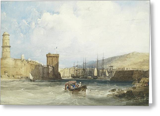 The Entrance To The Harbor Of Marseilles Greeting Card