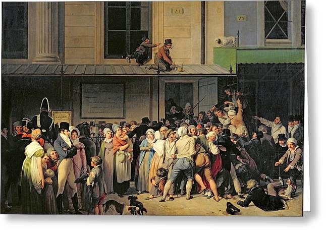 Queue Greeting Cards - The Entrance to the Theatre before a Free Performance Greeting Card by Louis Leopold Boilly