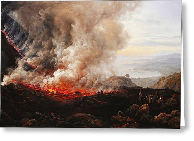 The Eruption Of Vesuvius Greeting Card by Johan Christian Dahl