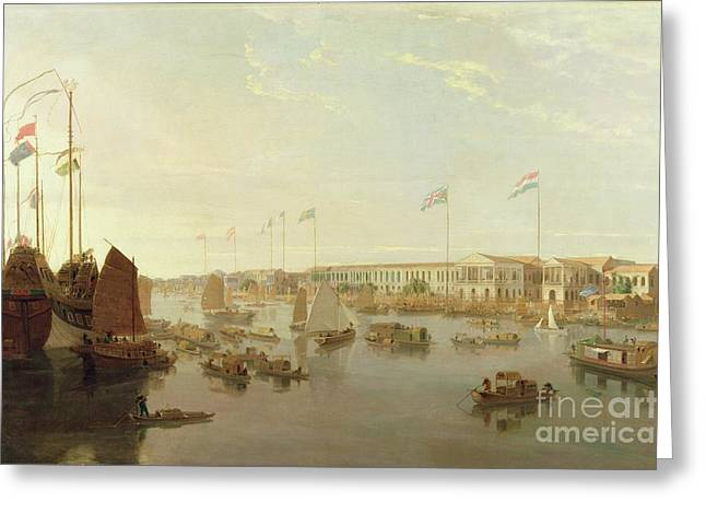 Junk Greeting Cards - The European Factories - Canton Greeting Card by William Daniell