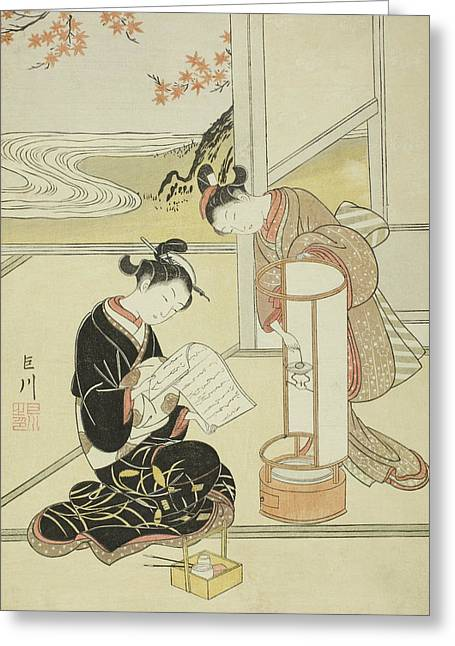 The Evening Glow Of A Lamp Greeting Card by Suzuki Harunobu