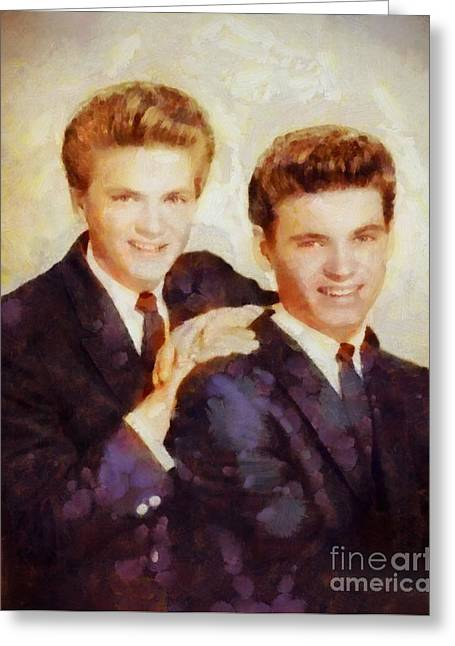 The Everly Brothers, Music Legends Greeting Card by Sarah Kirk