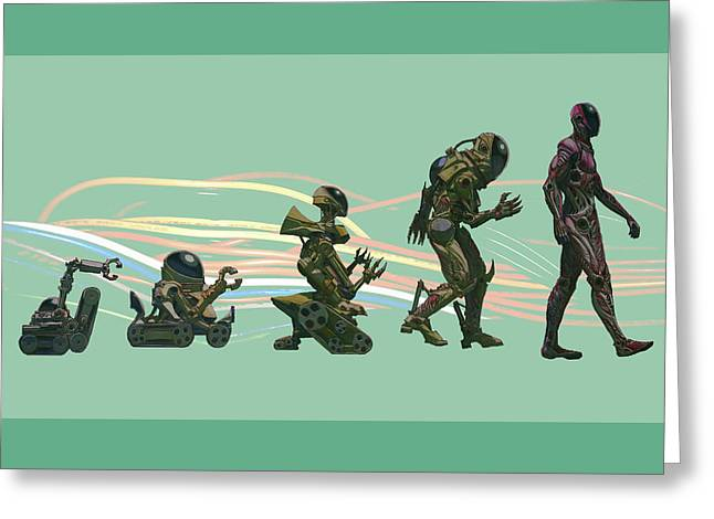 The Evolution Of The Golem Greeting Card by Will Shanklin