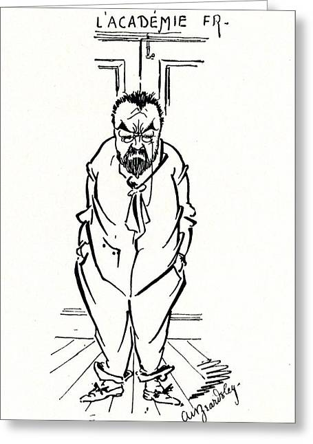 The Exclusion Of Emile Zola From The Academie Francaise Greeting Card by Aubrey Beardsley