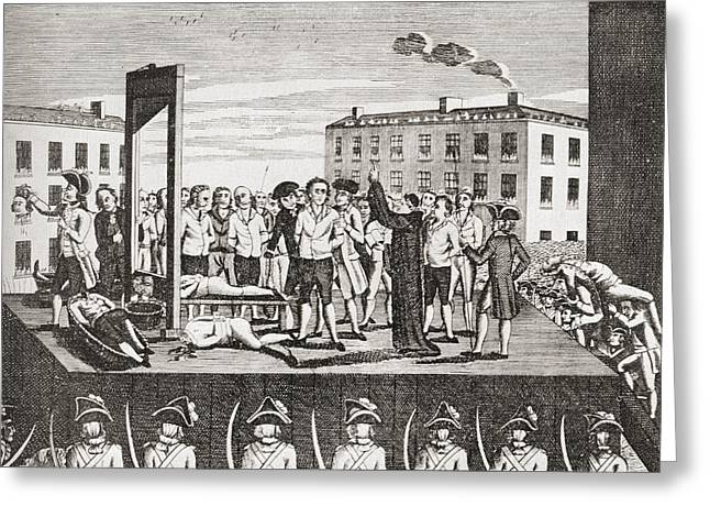 The Execution Of Jacques Pierre Greeting Card by Vintage Design Pics