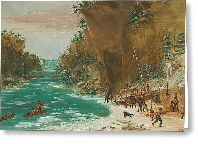 The Expedition Encamped Below The Falls Of Niagara Greeting Card by Mountain Dreams