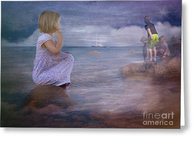 The Explorers Underneath The Night Sky At The Seashore Greeting Card