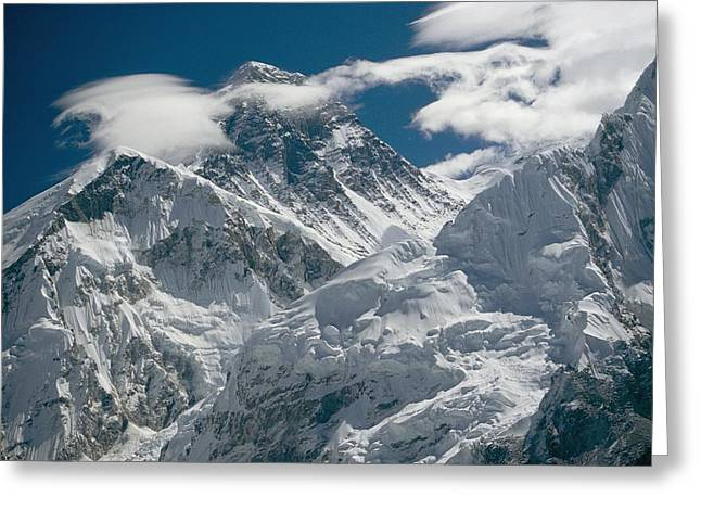 Height Greeting Cards - The Extreme Terrain Of Mount Everest Greeting Card by Michael Klesius