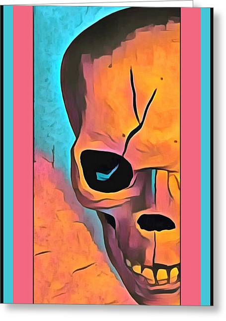 Greeting Card featuring the digital art The Eye Of Death Abstract Skull by Floyd Snyder