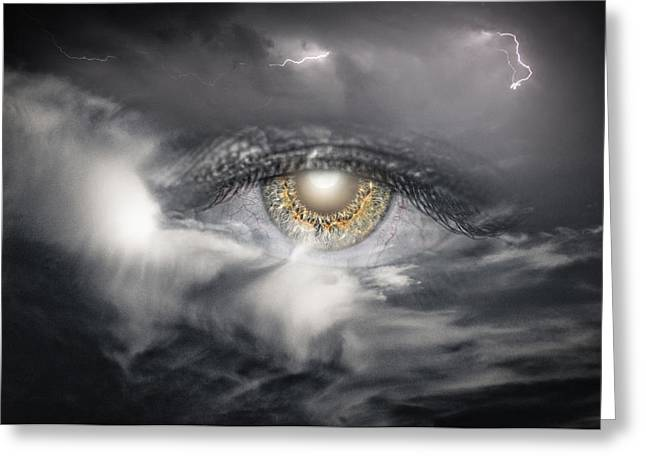Lightning Photographer Greeting Cards - The Eye of The Storm Sees All Greeting Card by My Minds  Photographer