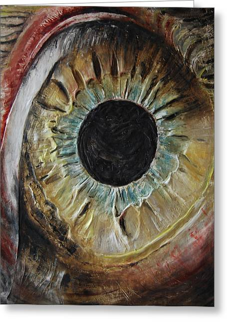 Red Abstract Reliefs Greeting Cards - The Eye Greeting Card by Tatiana Ilieva