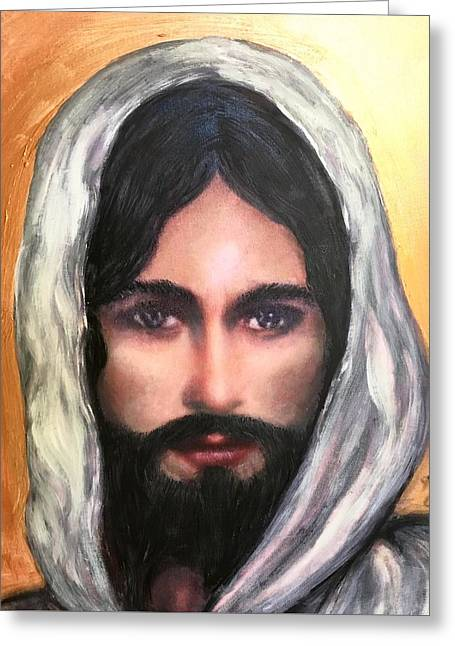 The Eyes Of Jesus Greeting Card by Cena Rasmussen