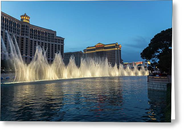 The Fabulous Fountains At Bellagio - Las Vegas Greeting Card