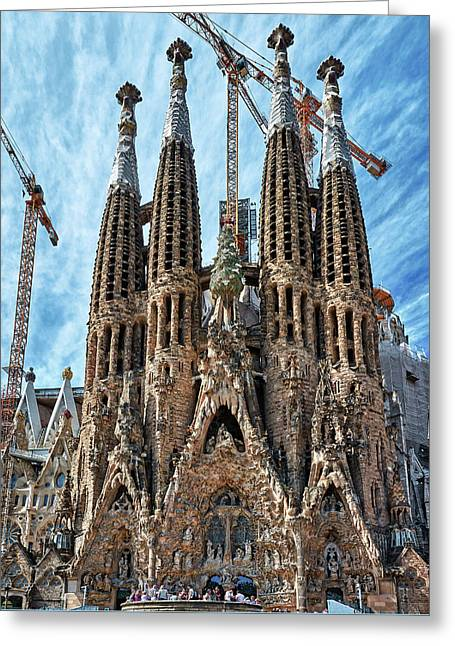 The Facade Of The Sagrada Familia Greeting Card