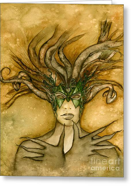 The Face Of Dryad Greeting Card by Alysa Fioretzi