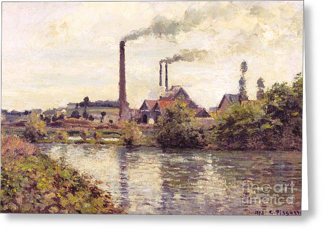 The Factory At Pontoise, 1873 Greeting Card by Camille Pissarro