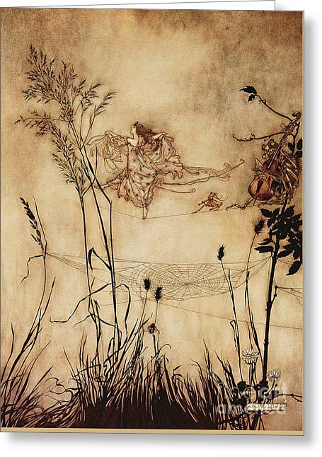The Fairy's Tightrope From Peter Pan In Kensington Gardens Greeting Card by Arthur Rackham