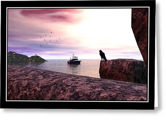 The Falcon At The Beach Greeting Card by William  Ballester