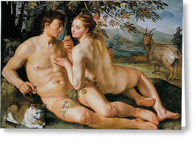 Hendrik Greeting Cards - The Fall of Man Greeting Card by Hendrik Goldzius