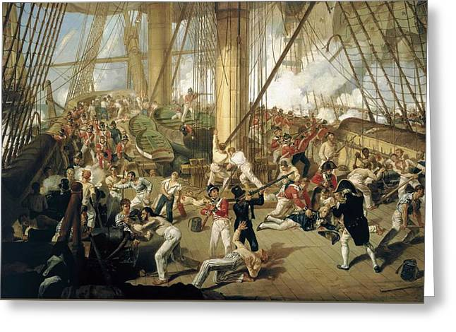 The Fall Of Nelson - Battle Of Trafalgar - 21 October 1805 Greeting Card by Mountain Dreams