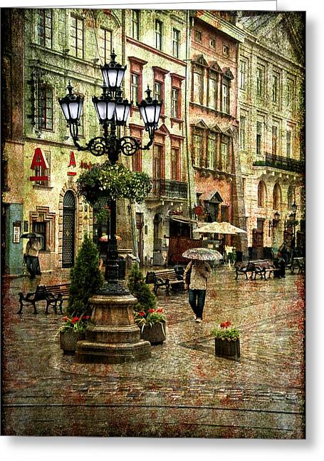 City Rain Greeting Cards - The Fall of Spring Greeting Card by Evelina Kremsdorf