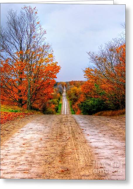 The Fall Road Greeting Card by Michael Garyet