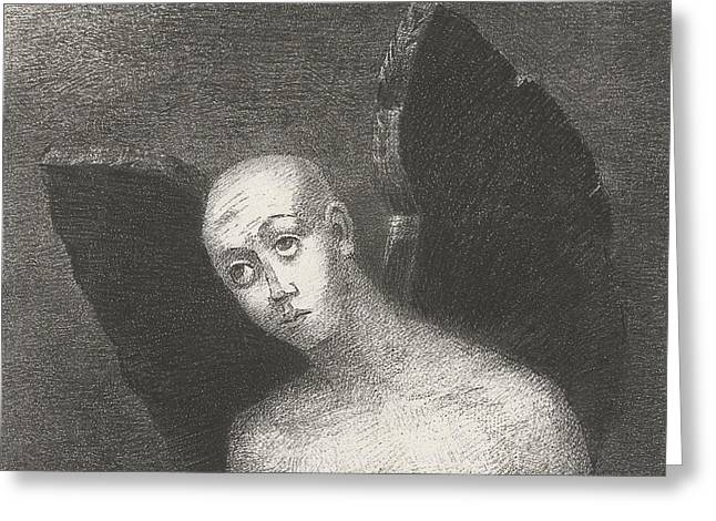 The Fallen Angel Greeting Card by Odilon Redon