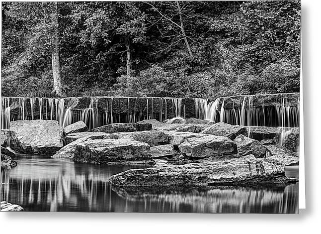 The Falls At Pillsbury Crossing In Black And White  Greeting Card