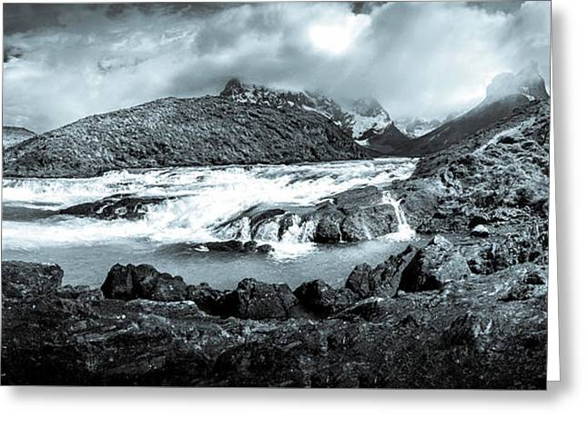 The Falls In Black And White Greeting Card by Andrew Matwijec