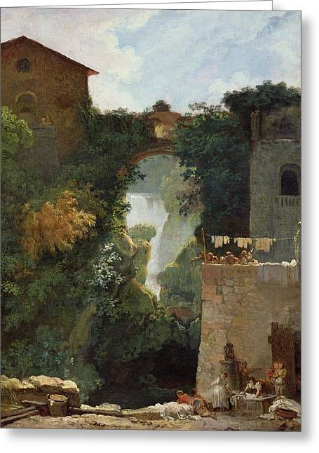 The Falls Of Tivoli Greeting Card by Jean Honore Fragonard