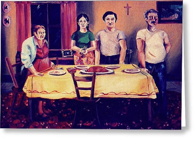 The Family Dinner Greeting Card by John Keaton