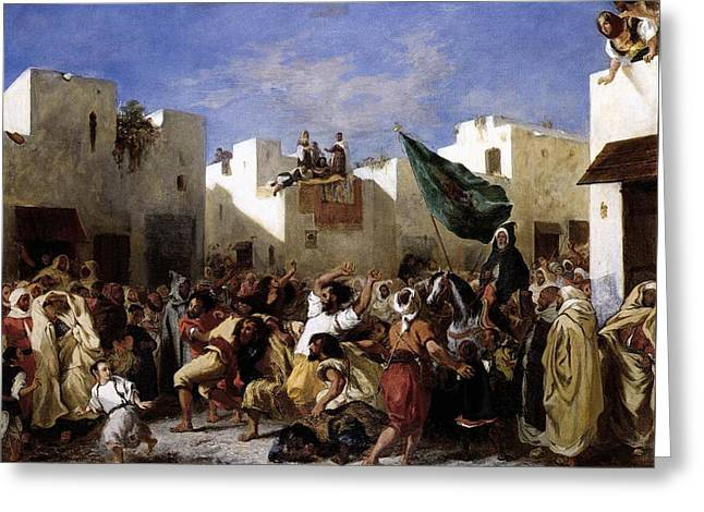 The Fanatics Of Tangier Greeting Card by Eugene Delacroix