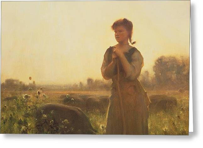 The Farm Girl Greeting Card by Arthur Hacker