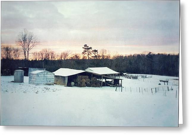 The Farm In Snow At Sunset Greeting Card
