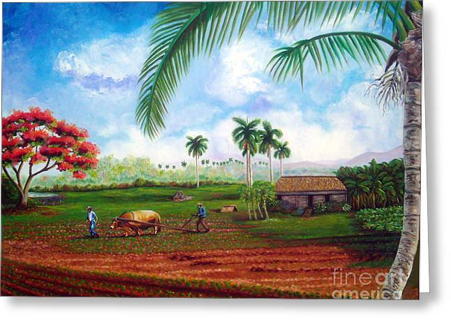 Cuban Art Greeting Cards - The farm Greeting Card by Jose Manuel Abraham