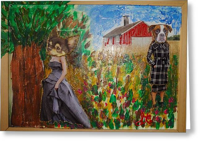 Greeting Card featuring the painting The Farm by Lisa Piper