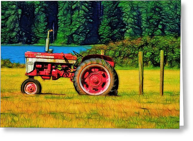 The Farmall 240 Greeting Card by Tim Coleman