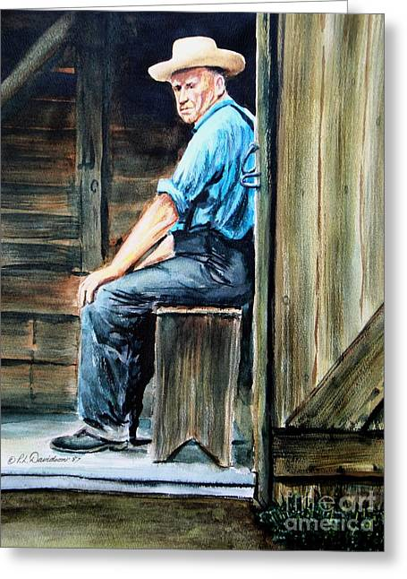 Greeting Card featuring the painting The Farmer by Patricia L Davidson